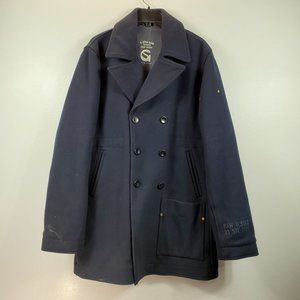 G-star Raw Women Blue Hamward  Pea Coat Sz XL